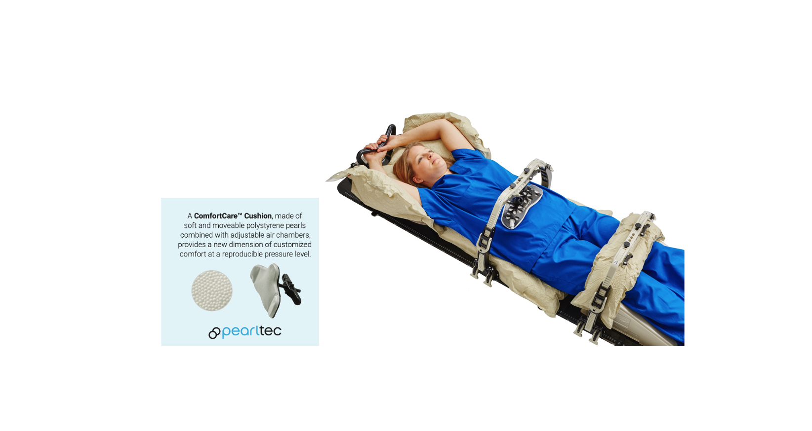 Patient in SBRT position using Pearltec cushion for breathing suppression